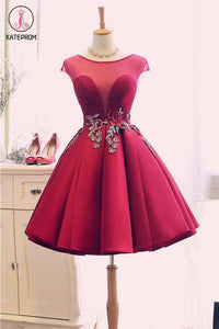 Kateprom Burgundy Satin Ruched Homecoming Dress, A Line Short Prom Dress with Appliques KPH0422