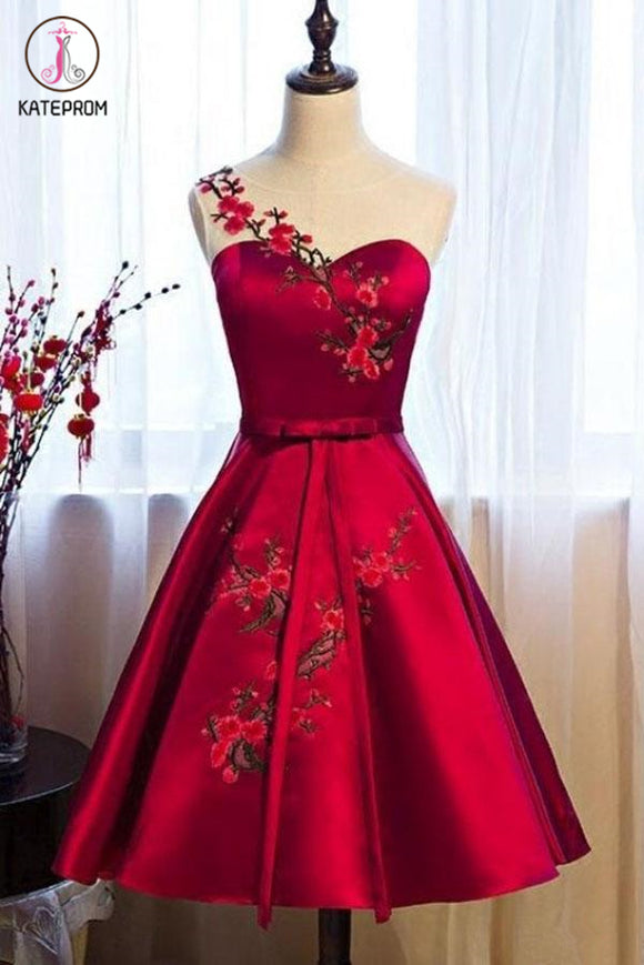 Kateprom Burgundy Sheer Neck Knee Length Sleeveless Satin Homecoming Dress with Belt KPH0438
