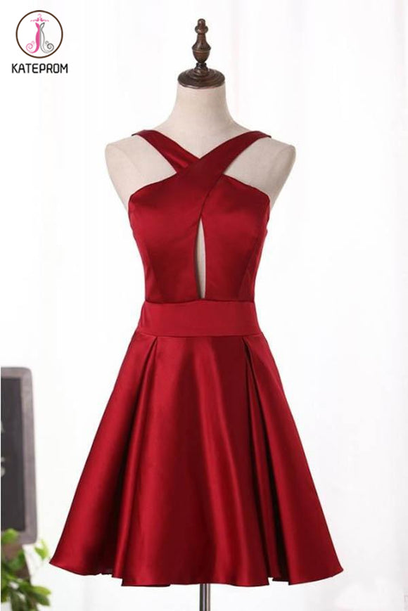 Kateprom Unique Burgundy Satin Short Homecoming Dress, A Line Short Prom Dress with Keyhole KPH0440