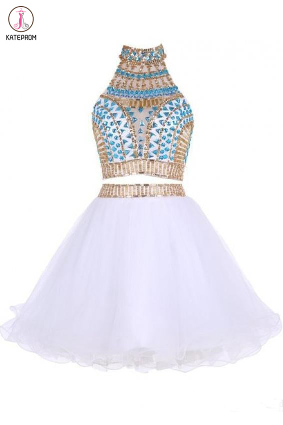 Kateprom Two Piece Jewel Tulle Homecoming Dress with Beads, White Short Mini Prom Dress KPH0448