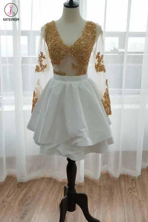 Kateprom White Long Sleeve Homecoming Dress with Gold Lace Appliques, V Neck Short Prom Dress KPH0513