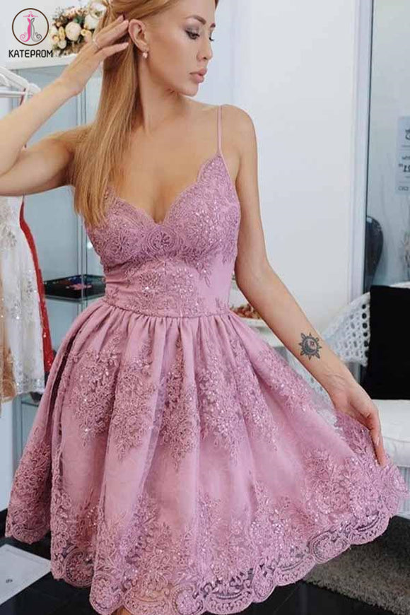 Kateprom Spaghetti Strap Short Homecoming Dresses with Lace Appliqes, Cute Graduation Dress KPH0514