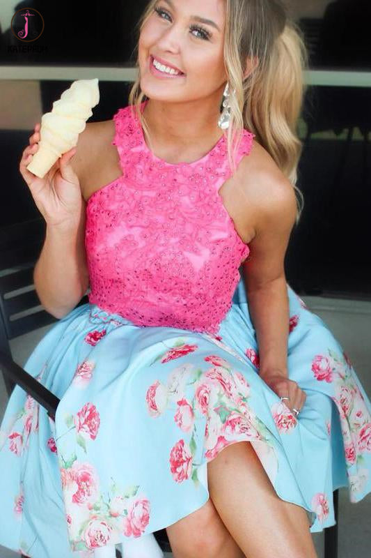 Kateprom Light Blue Short Homecoming Dress with Hot Pink Lace Top, Knee Length Prom Gown KPH0524