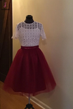 Kateprom Burgundy Short Homecoming Dress with Top Lace, Cute Short Prom Dress with Lace KPH0502
