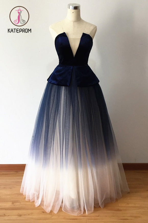 Kateprom Ombre Blue Tulle Long Prom Dress, New Style Strapless Long Evening Dress KPP0864