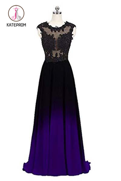 Kateprom Black and Purple Sleeveless Ombre Prom Dresses, A Line Lace Appliques Evening Dresses KPP0873
