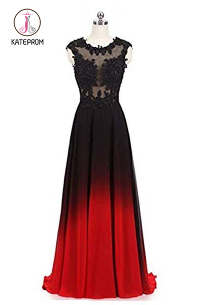 Kateprom Black and Red Sleeveless Ombre Prom Dresses, A Line Lace Appliques Party Dress KPP0874