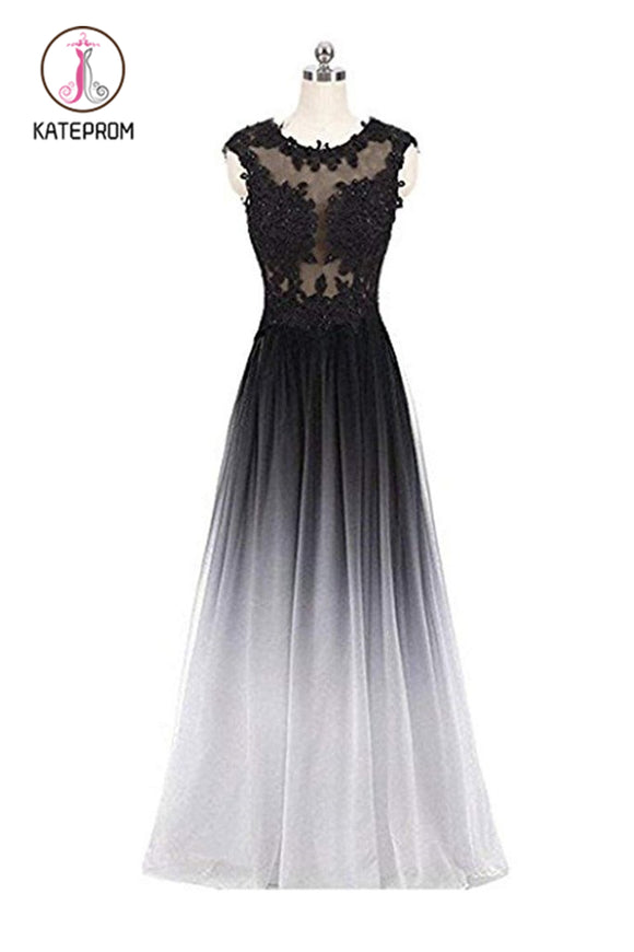 Kateprom Gradient Sleeveless Ombre Prom Dresses, A Line Gradient Lace Appliques Party Dress KPP0875