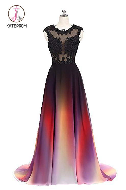 Kateprom Gradient Sleeveless Ombre Prom Dress, A Line Gradient Lace Appliques Party Dress KPP0876