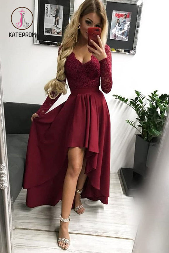 Kateprom High Low Long Sleeves V Neck Prom Dress, Burgundy A Line Graduation Dress with Lace KPP0884