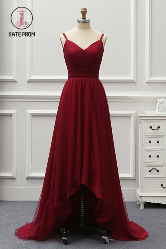 Kateprom A Line High Low Tulle Prom Dress with Train, Burgundy V Neck Backless Formal Dress KPP0887