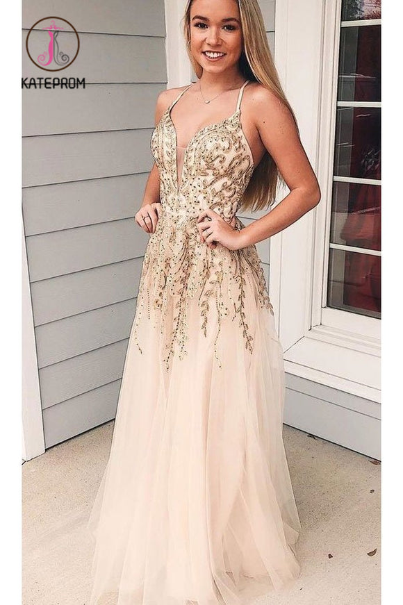 Kateprom Charming Appliques Spaghetti Straps Tulle Long Prom Dress, V neck Evening Dress KPP0890