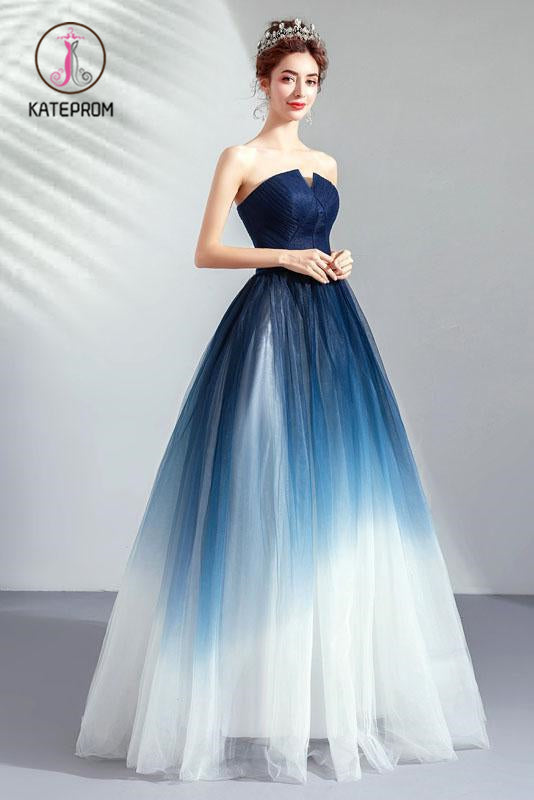 Ombre Strapless A Line Long Prom Dress, Blue Ombre Graduation Dress with Lace Up Back KPP0893