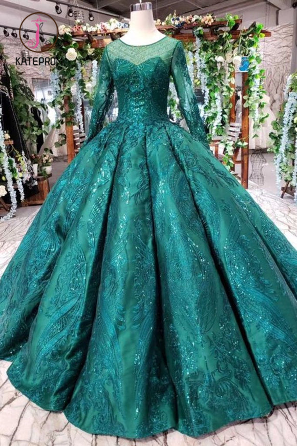 Kateprom Dark Green Long Sleeves Ball Gown Prom Dress with Beads, Quinceanera Dress KPP0906