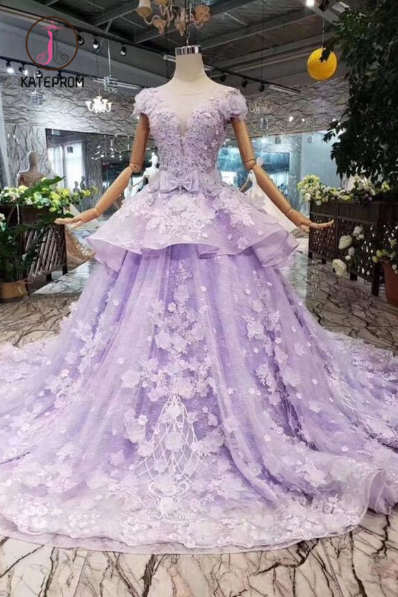 Kateprom Lilac Ball Gown Short Sleeve Prom Dresses with Long Train, Gorgeous Quinceanera Dress KPP0910