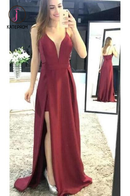 Kateprom Burgundy Sleeveless Prom Dresses, Spaghetti Strap Split Satin Party Dresses KPP0913