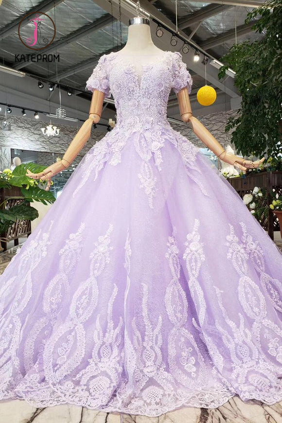 Kateprom Lilac Ball Gown Short Sleeves Prom Dresses with Sheer Neck, Gorgeous Quinceanera Dress KPP0918