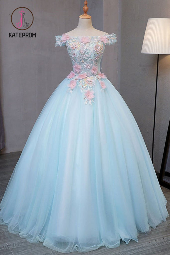 Kateprom Sky Blue Tulle Princess Off Shoulder Long Prom Dress, Quinceanera Dressses with Flowers KPP0946