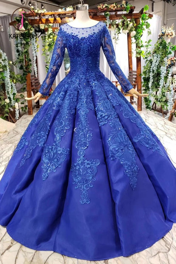 Kateprom Royal Blue Long Sleeves Ball Gown Prom Dresses, Puffy Quinceanera Dress with Appliques KPP0966