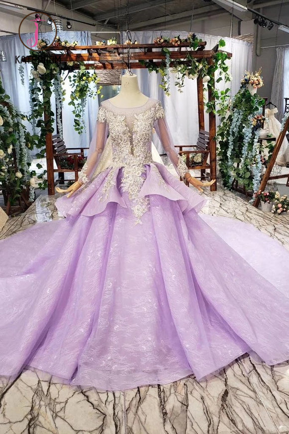 Kateprom Stunning Long Sleeve Ball Gown Appliques Beading Lilac Quinceanera Dress KPP0972