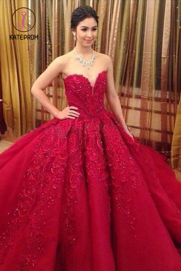 Kateprom Ball Gown Red Sweetheart Tulle Prom Dresses with Appliques, Puffy Quinceanera Dress KPP0995