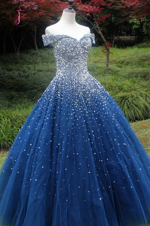 Kateprom Sparkle Off the Shoulder Blue Ball Gown Prom Dresses, Puffy Tulle Quinceanera Dresses KPP1010