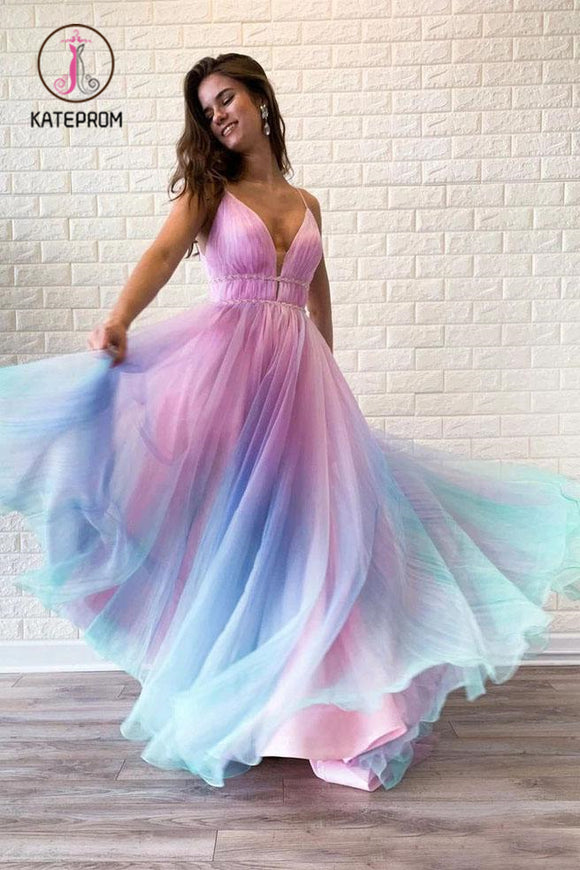 Kateprom Ombre Spaghetti Straps Sleeveless A Line Prom Dress, Flowy Ombre Party Dresses KPP1013