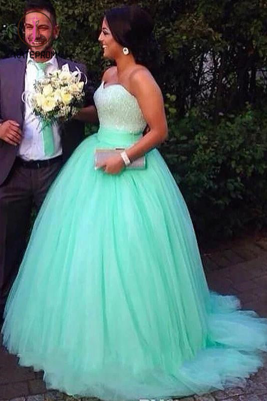 Kateprom Ball Gown Sleeveless Sweetheart Tulle Brush Train Beading Plus Size Prom Dresses KPP1023