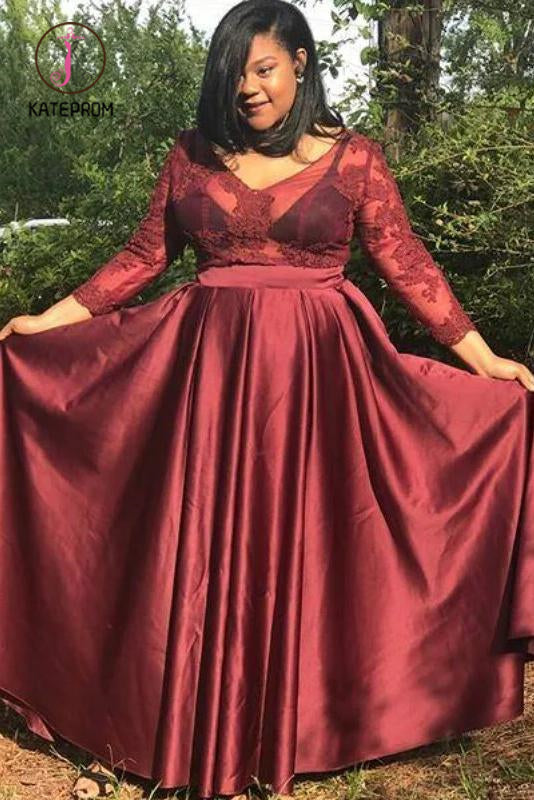 Kateprom A Line V Neck Satin Prom Dress with 3/4 Sleeves, Floor Length Appliques Plus Size Dress KPP1024