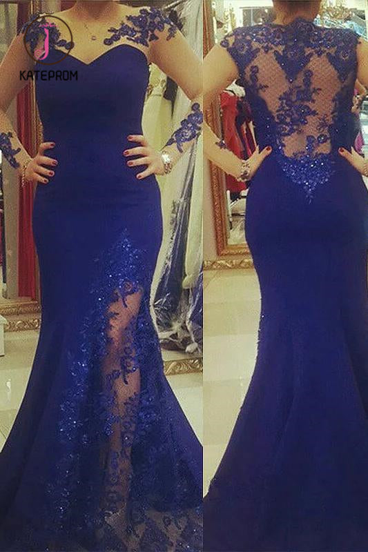 Kateprom Royal Blue Plus Size Mermaid Prom Dress with Sheer Sleeves, Plus Size Dress with Lace KPP1026