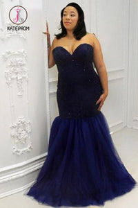 Kateprom Mermaid Sweetheart Sleeveless Sequin Floor-Length Tulle Plus Size Prom Dresses KPP1029