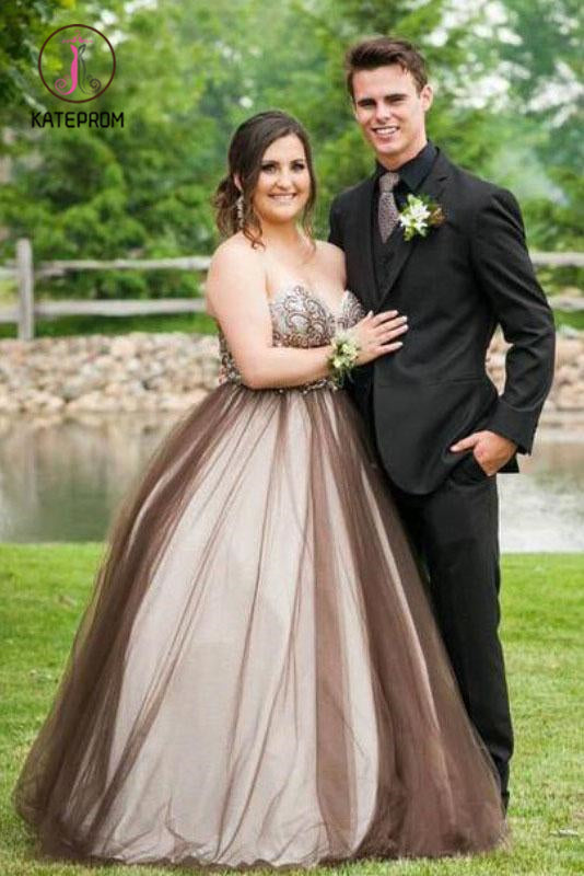 Kateprom Ball Gown Sweetheart Sleeveless Beading Floor Length Tulle Plus Size Prom Dresses KPP1038