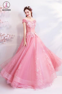 Kateprom Pink Off the Shoulder Puffy Tulle Prom Dresses, Floor Length Appliqued Quinceanera Dress KPP1056