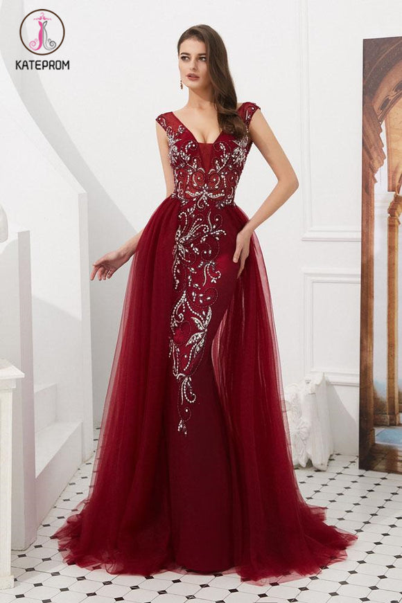 Kateprom Burgundy V Neck Sleeveless Tulle Long Prom Dress with Beads Crystal KPP1059