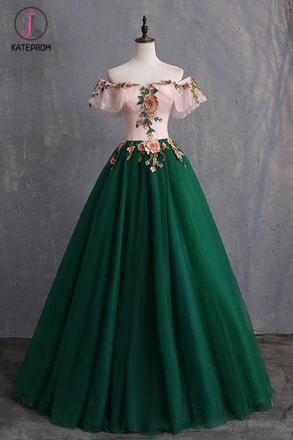 Kateprom Green Off the Shoulder Floor Length Prom Dress with Appliques, Puffy Quinceanera Dress KPP1062
