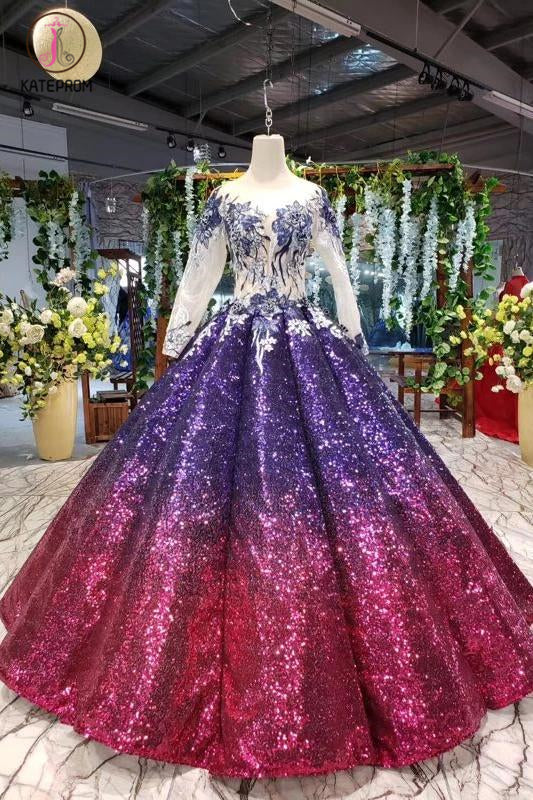 Kateprom Ball Gown Long Sleeves Sequins Ombre Prom Dress, Puffy Quinceanera Dress KPP1063