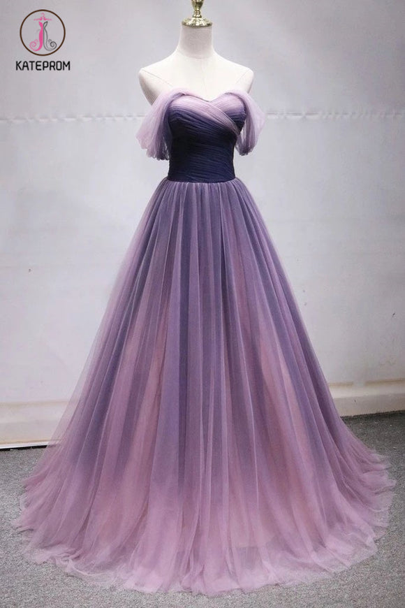 Kateprom Off the Shoulder Tulle Long Ombre Prom Dresses, Princess Formal Gown KPP1064