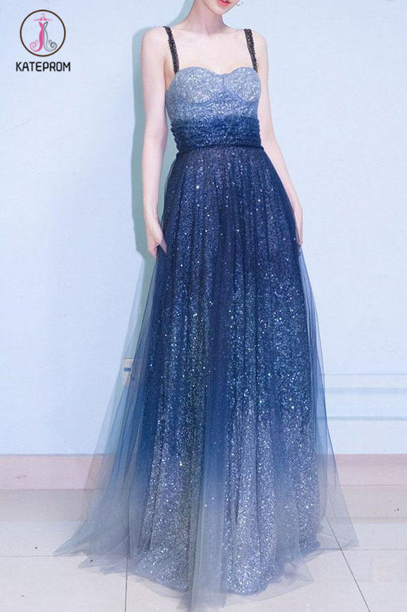 Kateprom Royal Blue Straps Floor Length Ombre Tulle Prom Dress, A Line Elegant Evening Dress KPP1069
