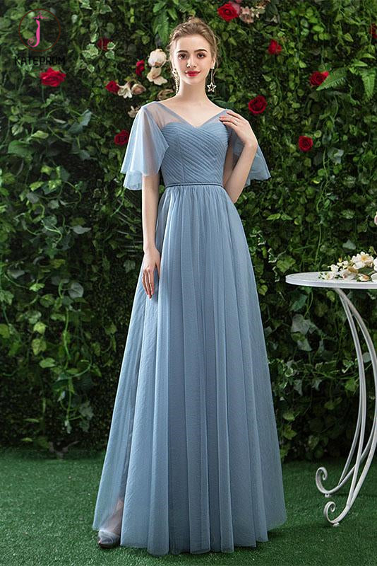 Kateprom Cheap V Neck Tulle Long Prom Dress with Short Sleeves, A Line Bridesmaid Dresses KPP1075