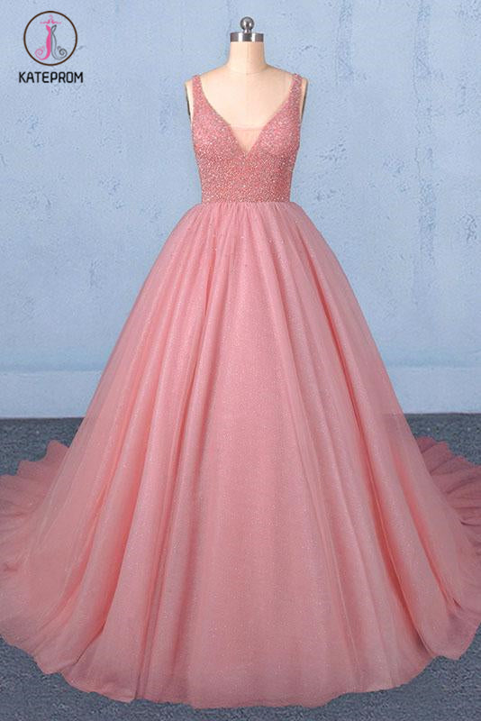 Kateprom Ball Gown V Neck Tulle Prom Dress with Beads, Puffy Sleeveless Quinceanera Dresses KPP1087