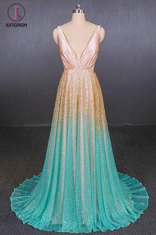 Kateprom Ombre Deep V Neck Sleeveless A Line Prom Dress, Ombre Backless Shiny Evening Dress KPP1088