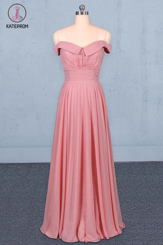 Kateprom Strapless Floor Length Chiffon Pink Prom Dress, Simple A Line Bridesmaid Dress KPP1098
