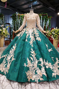 Kateprom Ball Gown Long Sleeves Floor Length Prom Dress with Appliques, Quinceanera Dresses KPP1100