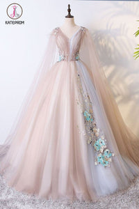 Kateprom Ball Gown V Neck Tulle Prom Dress with Appliques, Unique Floor Length Quinceanera Dresses KPP1105