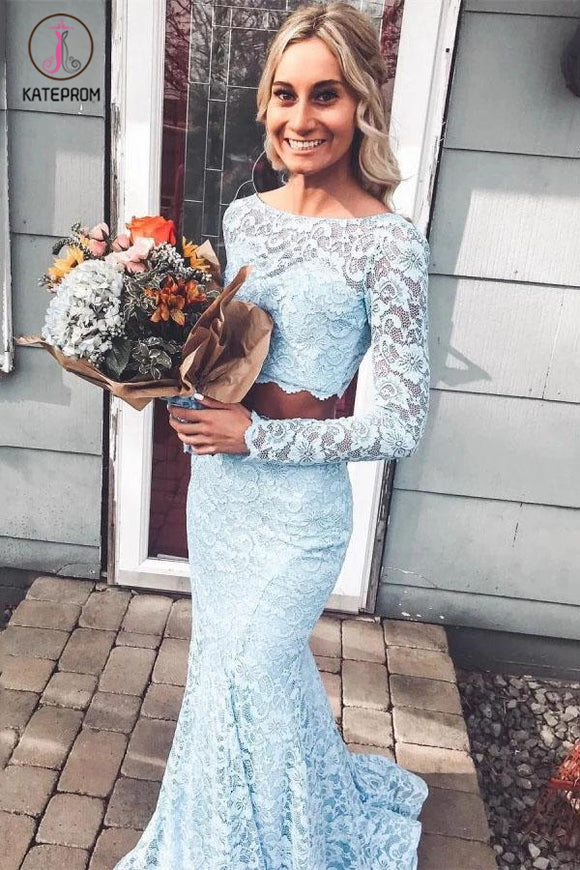 Kateprom Light Sky Blue Long Sleeves Mermaid Two Piece Prom Dresses, Long Lace Evening Dress KPP1112