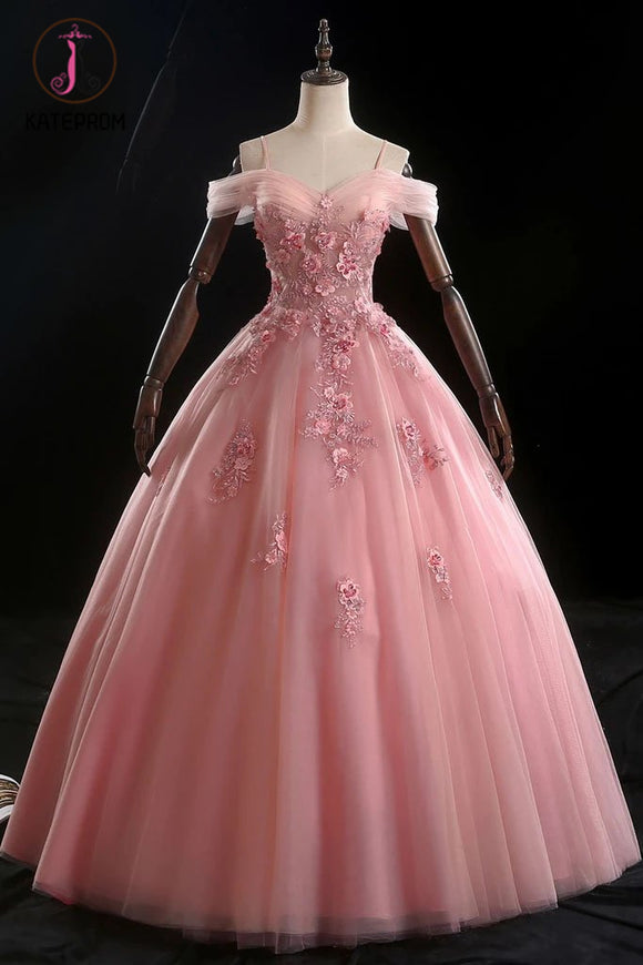 Kateprom Pink Ball Gown Off Shoulder Prom Dress with Flowers, Floor Length Applique Quinceanera Dress KPP1117