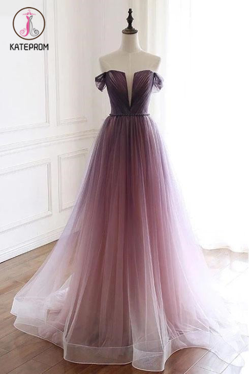 Kateprom A Line Off the Shoulder Ombre Prom Dresses with Belt, Purple Gradient Long Tulle Formal Dress KPP1123