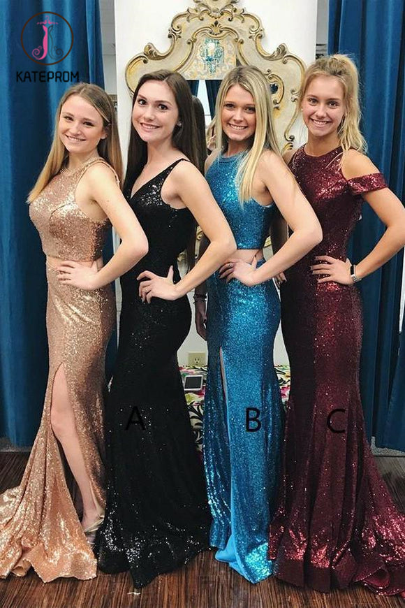 Kateprom Glitter Sexy Mermaid Prom Dress, Sweep Train Sequined Long Bridesmaid Dress KPP1134
