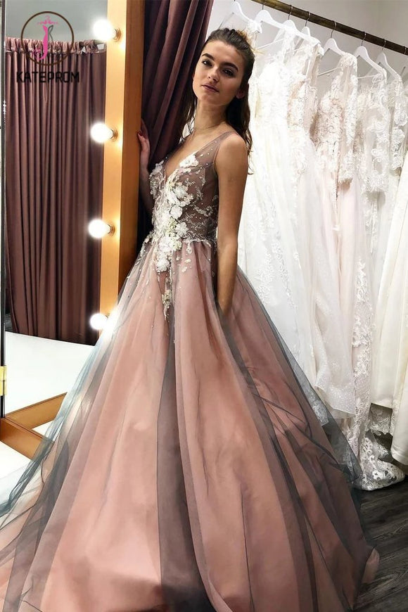 Kateprom A Line V Neck Sleeveless Tulle Party Dress with Flowers, Gorgeous Prom Dress with Appliques KPP1138