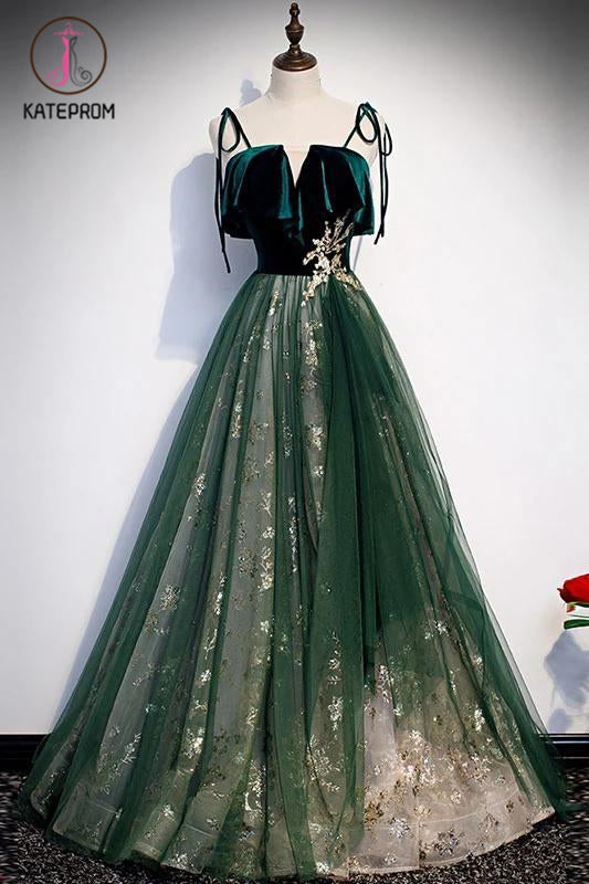 Kateprom Spaghetti Straps Tulle Lace Green Prom Dress, Floor Length Lace Up Formal Dress KPP1141